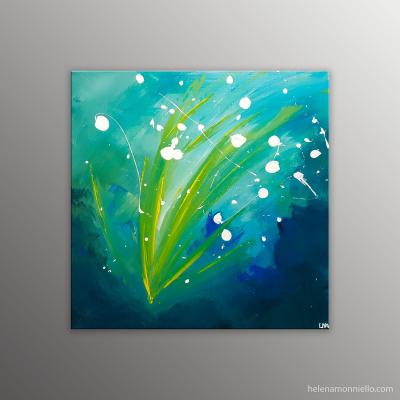 Peinture abstraite de l'artiste Helena Monniello qui représente des fleurs blanches au vent.