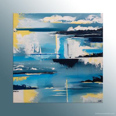 Peinture abstraite de l'artiste Helena Monniello représentant les bords d'un lac.