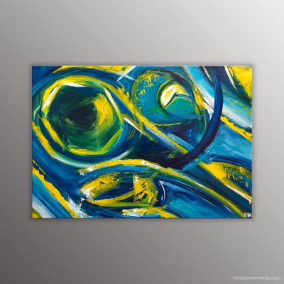 Peinture abstraite dans les tons bleus, jaunes et verts