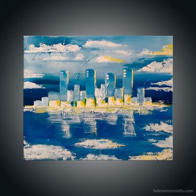 Paysage urbain abstraite de l'artiste Helena Monniello qui évoque la ville de Boston.