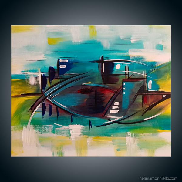 Toile abstraite de l'artiste Helena Monniello qui évoque un poisson ou un bateau sur l'eau. Dimensions : 41*33 cm.