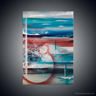 Peinture abstraite de l'artiste Helena Monniello qui évoque l'eau, le monde marin, le corail.