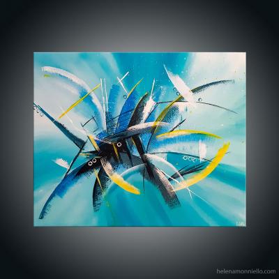 Peinture abstraite de l'artiste Helena Monniello dans des tons de bleu turquoise, noir et jaune, symbolisant ce qu'elle a au fond du coeur.