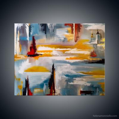Peinture abstraite de l'artiste Helena Monniello qui représente ce qu'il y a entre les lignes
