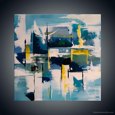 Peinture abstraite de l'artiste Helena Monniello qui représente un jardin sous la neige et le froid.