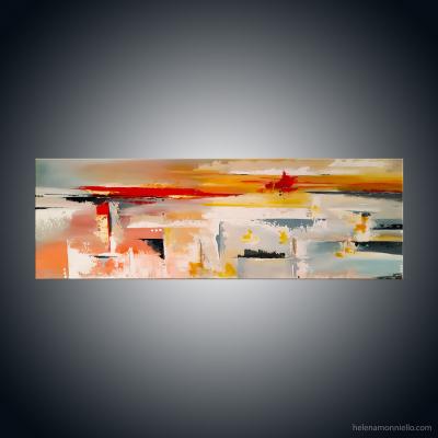 Peinture abstraite de l'artiste Helena Monniell qui représente une vue sur la mer lors d'un coucher de soleil.