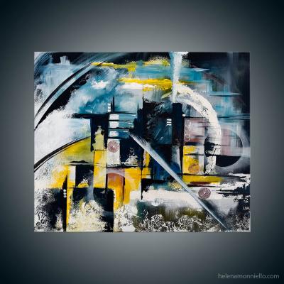 Peinture abstraite de l'artiste Helena Monniello pouvant représenter une locomotive en marche sur fond noir.
