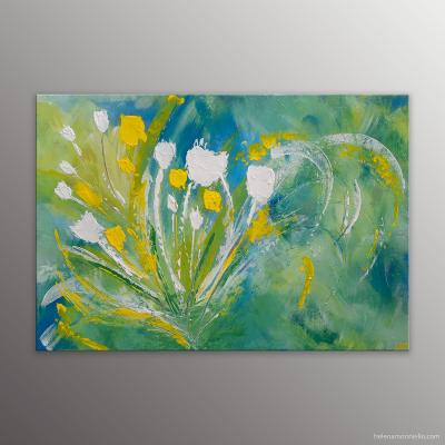 Peinture abstraite de l'artiste Helena Monniello représentant un bouquet de fleurs blanches et jaune.
