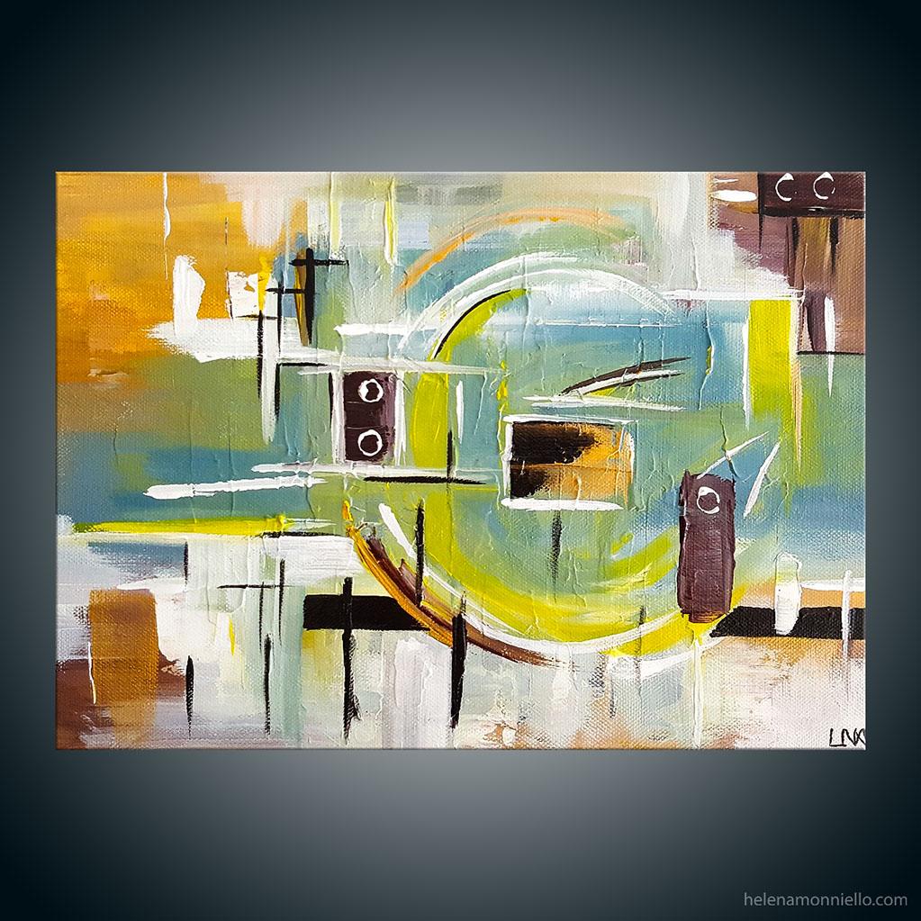 Peinture abstraite de l'artiste Helena Monniello dans des tons de bleu et ocre.