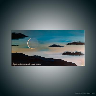 Peinture figurative de l'artiste Helena Monniello qui représente un levé de soleil avec la lune.