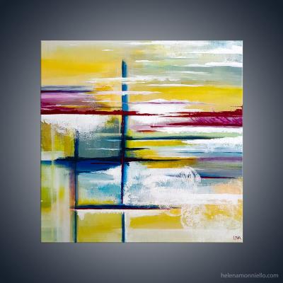 Peinture abstraite de l'artiste Helena Monniello qui représente les souvenir d'une balade en mer
