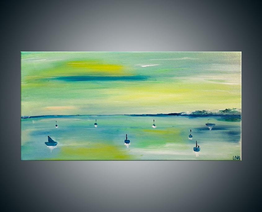 Paysage marin de l'artiste Helena Monniello dans des tons de vert.