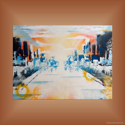 Paysage urbain de l'artiste Helena Monniello dans des tons orangé et bleu.