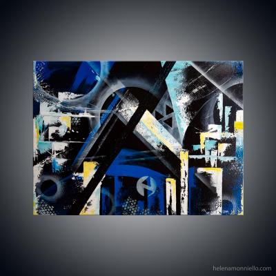 Peinture abstraite de l'artiste Helena Monniello sur fond noir avec des formes géométriques fortes
