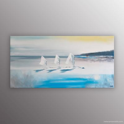 Peinture de l'artiste Helena Monniello représentant un paysage marin avec trois optimistes