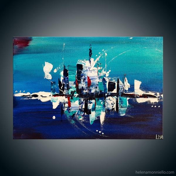 Paysage abstrait de l'artiste Helena Monniello dans des tons de bleus.