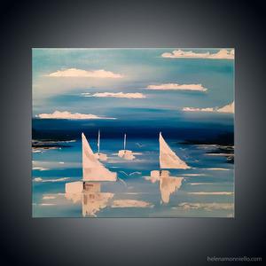 Paysage de l'artiste Helena Monniello représentant des bateaux blancs avec les voiles aux vent.