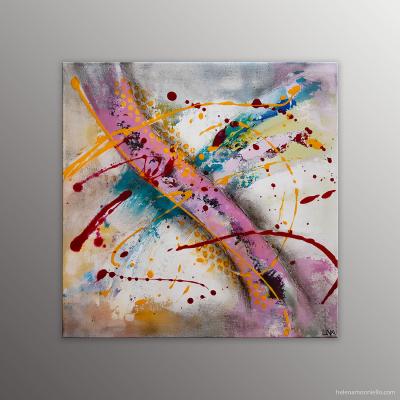 Peinture abstraite de l'artiste Helena Monniello dans les couleurs des bonbons arlequin