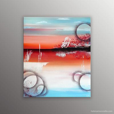 Paysage abstrait de l'artiste Helena Monniello, dans des tons bleus et rouges évoquant la mer