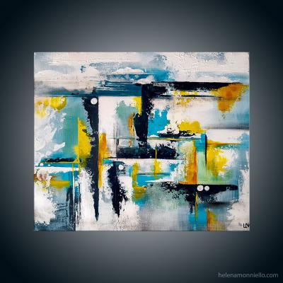 Peinture abstraite de l'artiste Helena Monniello qui évoque une vue d'un balcon.