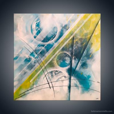 Peinture abstraite de l'artiste Helena Monniello représentant son univers.