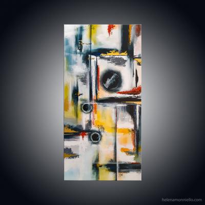 Peinture abstraite de l'artiste Helena Monniello qui par ses couleurs et ses formes évoque Jupiter