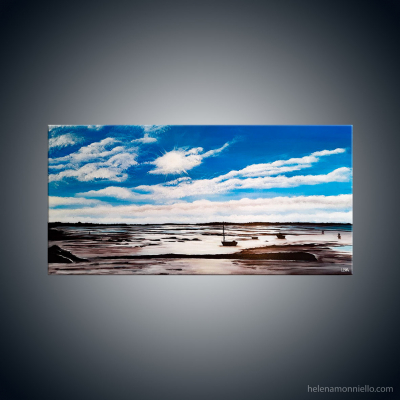 Peinture figurative de l'artiste Helena Monniello représentant un bord de mer marée basse.