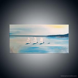 Peinture figurative de l'artiste Helena Monniello représentant des optimistes en mer.