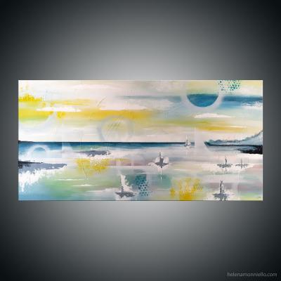 Peinture de l'artiste Helena Monniello mi abstraite mi fugurative représentant un paysage marin au couleur douces et nostalgiques