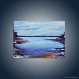 Paysage abstrait de l'artiste Helena Monniello qui représente des promeneurs vers la mer.