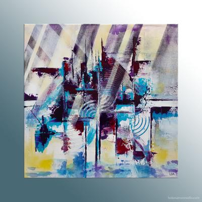 Peinture abstraite de l'artiste Helena Monniello qui représente une ville mystérieuse.