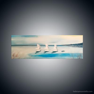Peinture figurative de l'artiste Helena Monniello représentant des optimistes aux bords de mer.
