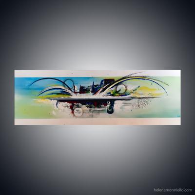 Peinture abstraite de l'artiste Helena Monniello qui évoque un plongeon