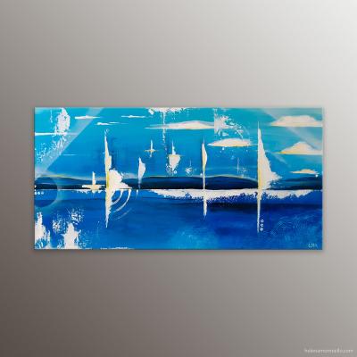 Peinture abstraite marine de l'artiste Helena Monniello dans des tons bleu soutenus et blanc.
