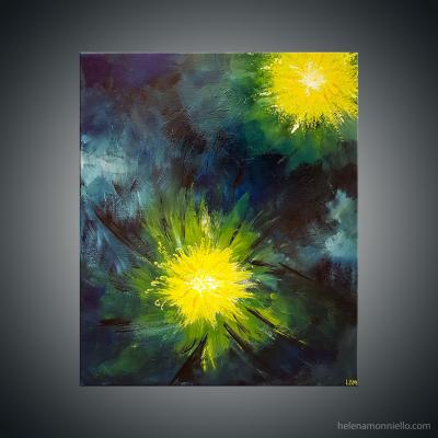 Peinture abstraite de l'artiste Helena Monniello qui représente une fleur dans la nuit.