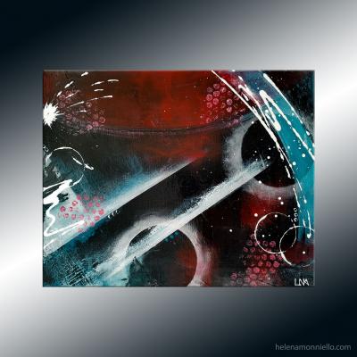 Peinture abstraite de l'artiste Helena Monniello sur fond de gesso noir qui évoque la voie lactée et les étoiles
