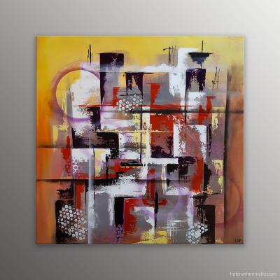 Peinture abstraite de l'artiste Helena Monniello graphique et géométrique représentant des building vue d'en haut.