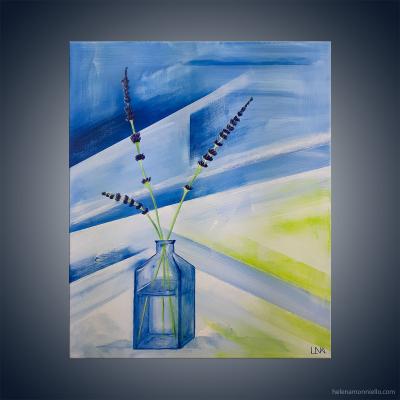 Peinture figurative de l'artiste Helena Monniello, représentant des brins de lavande dans un vase.