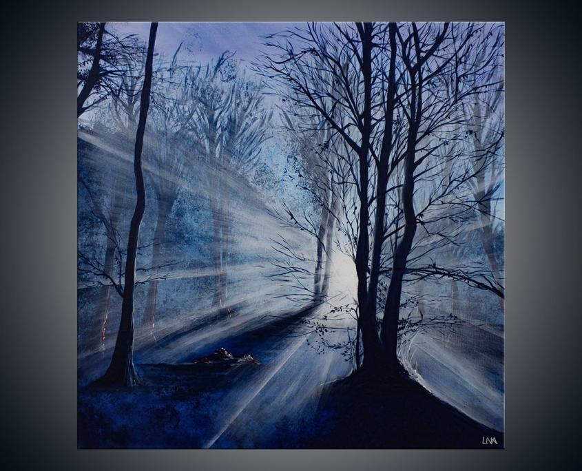 Peinture figurative de l'artiste Helena Monniello représentant un paysage hivernal dans un bois.