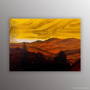 Peinture figurative de l'artiste Helena Monniello qui représente une vue de sa fenêtre après l'orage.