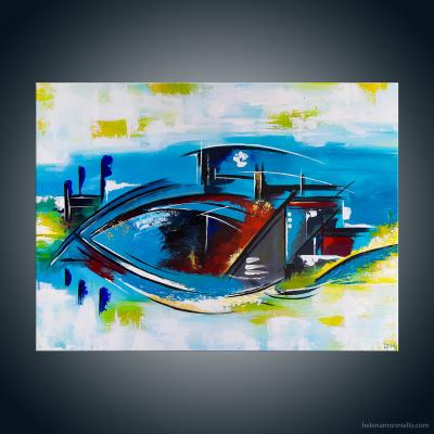 Peinture abstraite de l'artiste Helena Monniello représentant un bateau, un oeil, un poisson selon son imagination.