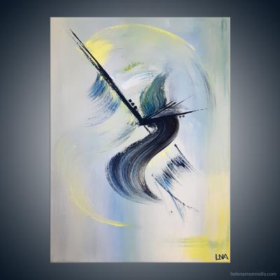 Peinture abstraite de l'artiste Helena Monniello représentant un paon.