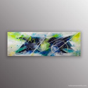 """Peinture abstraite """" The stars"""" de l'artiste Helena Monniello qui évoque les étoiles et le ciel la nuit."""