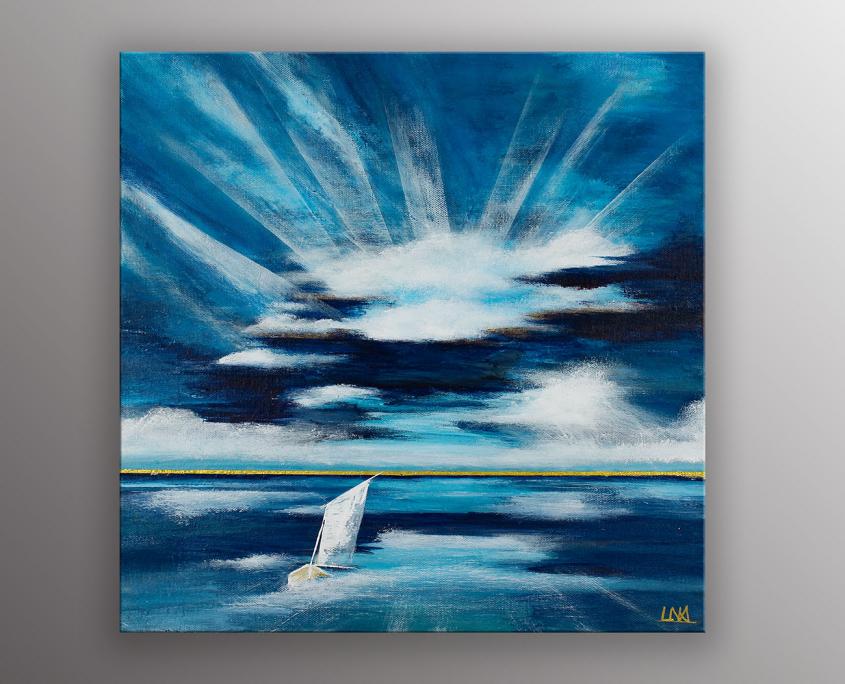 einture figurative de l'artiste Helena Monniello qui représente la mer et un bateau.