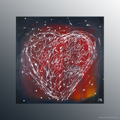 Peinture abstraite de l'artiste Helena Monniello qui représente un coeur d'écriture sur fond rouge.