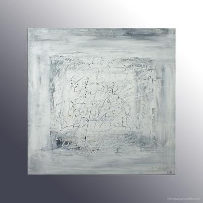 Peinture abstraite de l'artiste Helena Monniello avec des écrits dans les tons noir et blancs principalement.