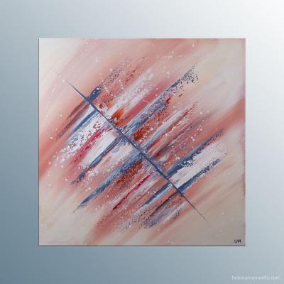 Tableau abstraite de l'artiste Helena Monniello dans les tons gris, marrons et rouges qui rappellent l'automne.