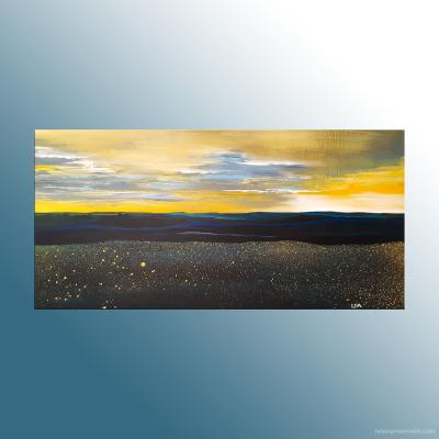 Paysage de l'artiste Helena Monniello dans des tons de jaune, de bleu.