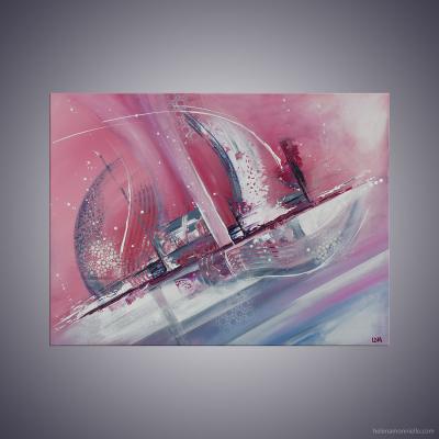 Peinture abstraite de l'artiste Helena Monniello dans des tons de rose qui représente un bateau.