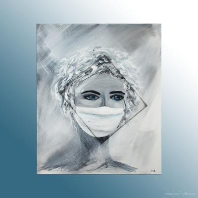 Peinture figurative de l'artiste Helena Monniello, représentant un visage de femme masquée en noir et blanc.